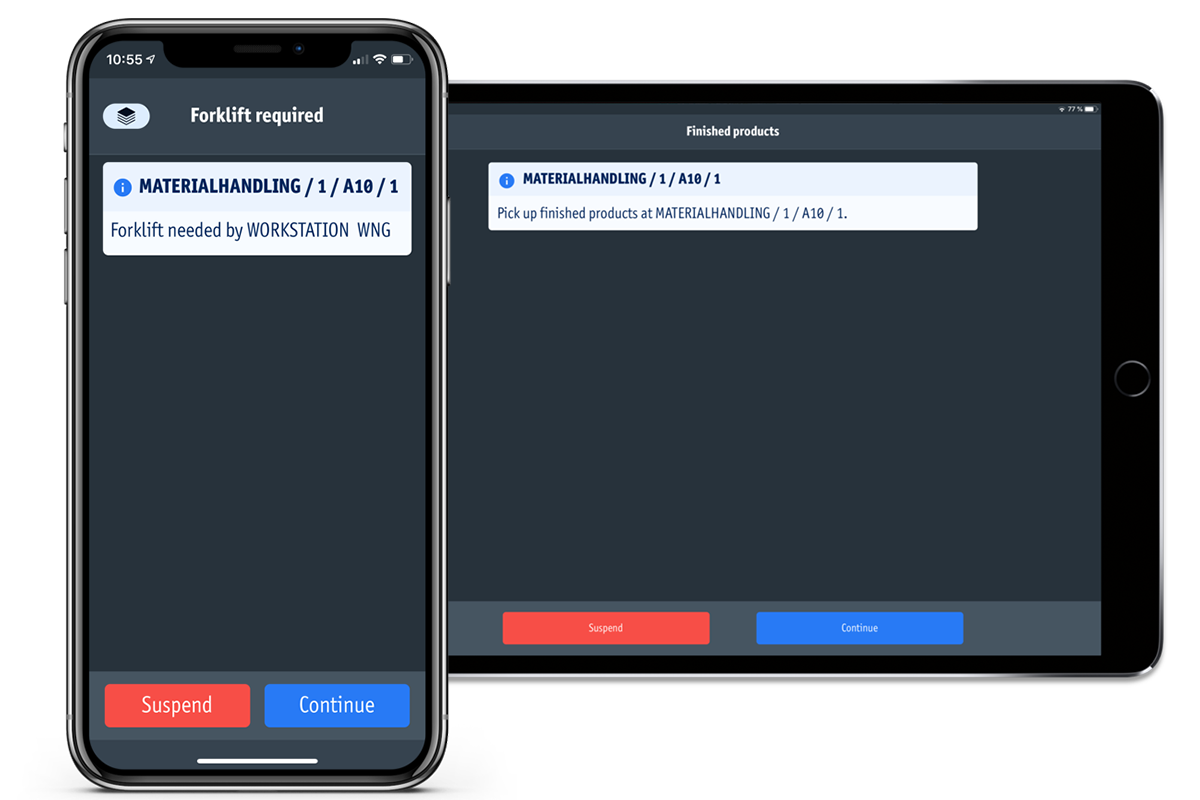 Example: Replenishment request and material delivery