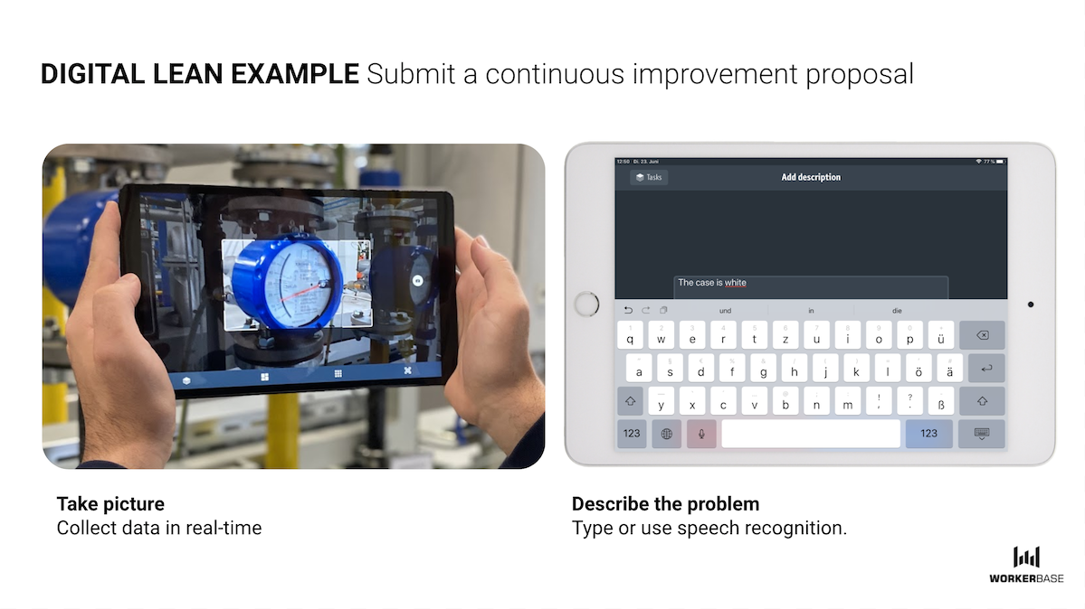 Continuous improvement proposal with tablet